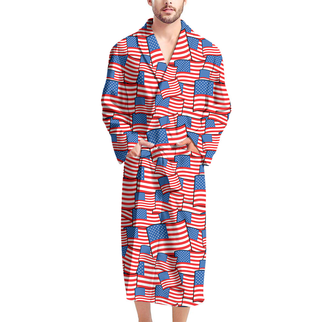4th of July USA Flag Pattern Print Men's Bathrobe