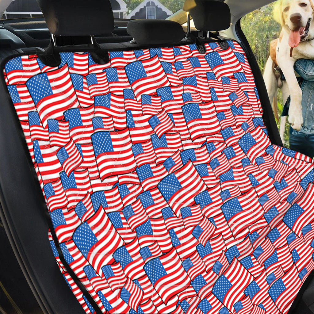 4th of July USA Flag Pattern Print Pet Car Back Seat Cover