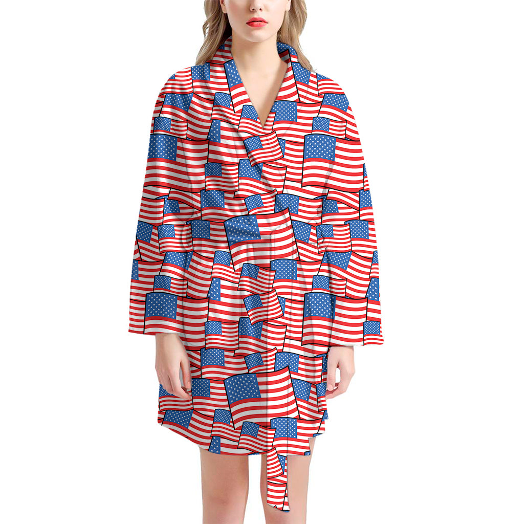 4th of July USA Flag Pattern Print Women's Bathrobe