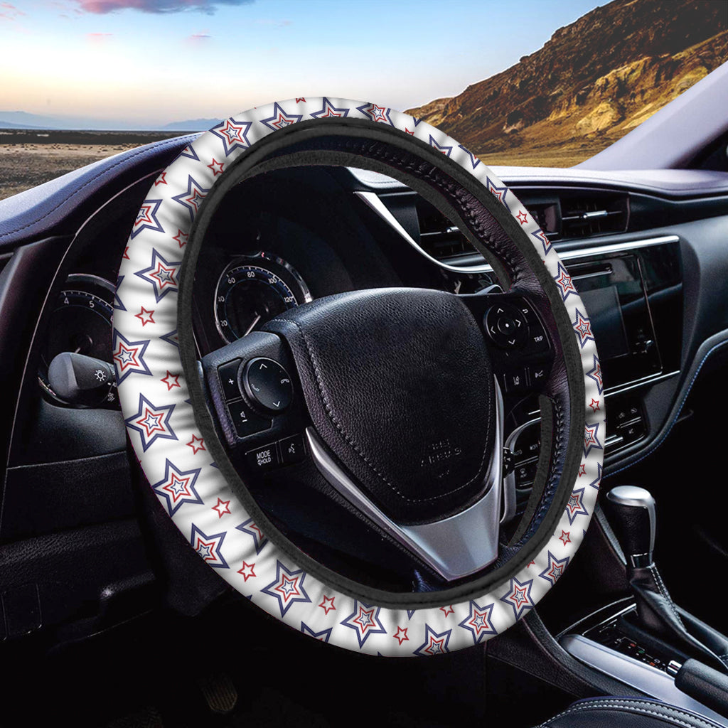 4th of July USA Star Pattern Print Car Steering Wheel Cover