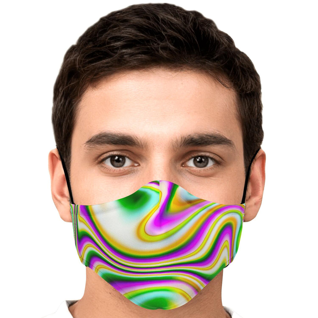 Abstract Holographic Liquid Trippy Print Face Mask
