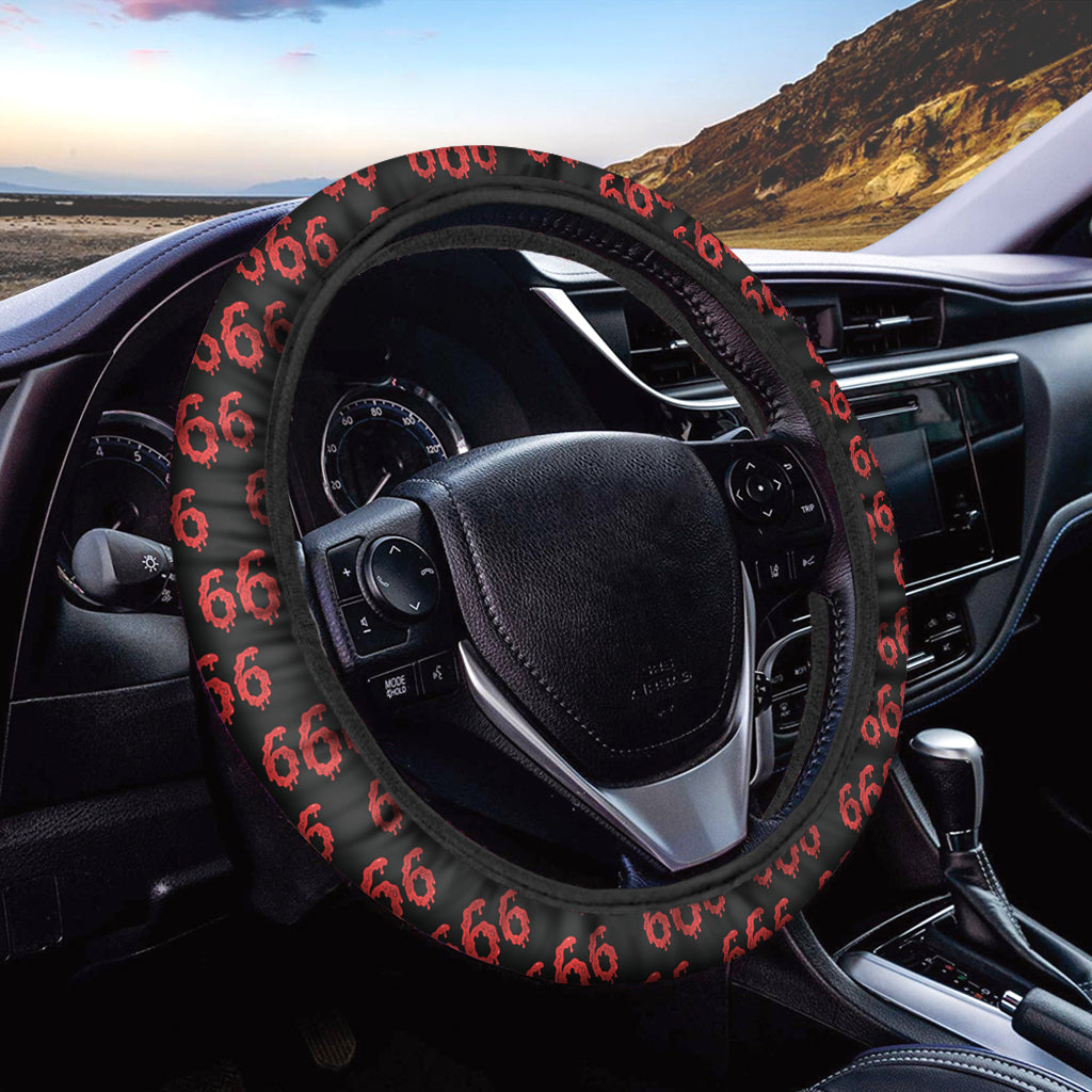666 Satan Pattern Print Car Steering Wheel Cover