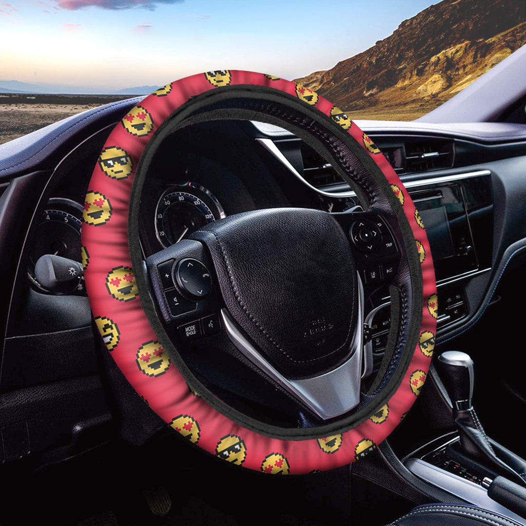 8-Bit Emoji Pattern Print Car Steering Wheel Cover