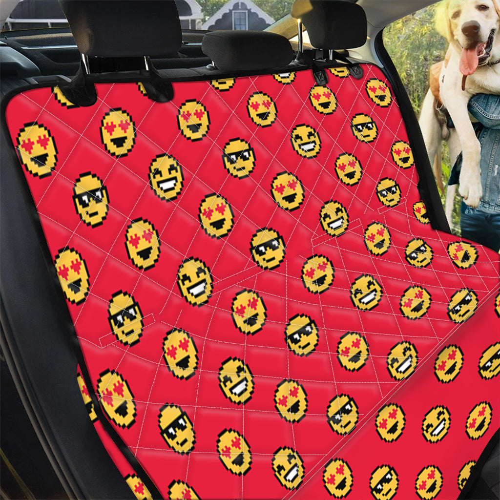 8-Bit Emoji Pattern Print Pet Car Back Seat Cover