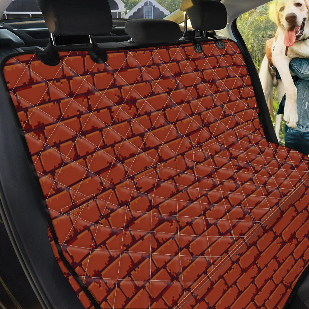 8-Bit Pixel Brick Wall Print Pet Car Back Seat Cover