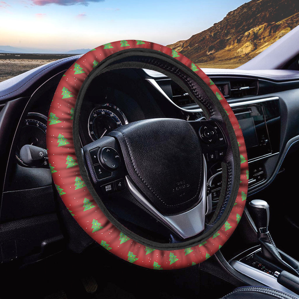 8-Bit Pixel Christmas Tree Pattern Print Car Steering Wheel Cover