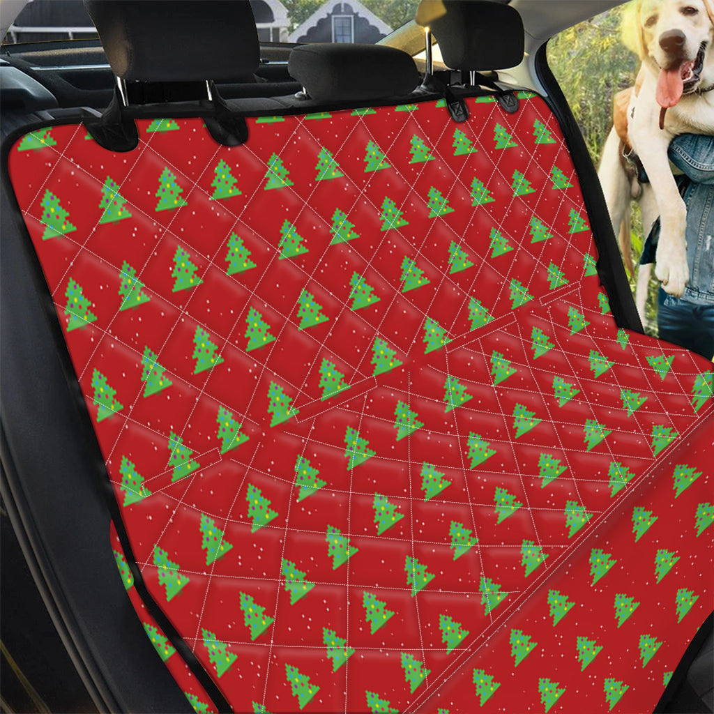 8-Bit Pixel Christmas Tree Pattern Print Pet Car Back Seat Cover