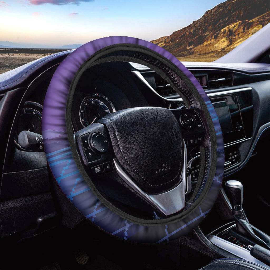 8-Bit Pixel Digital Landscape Print Car Steering Wheel Cover
