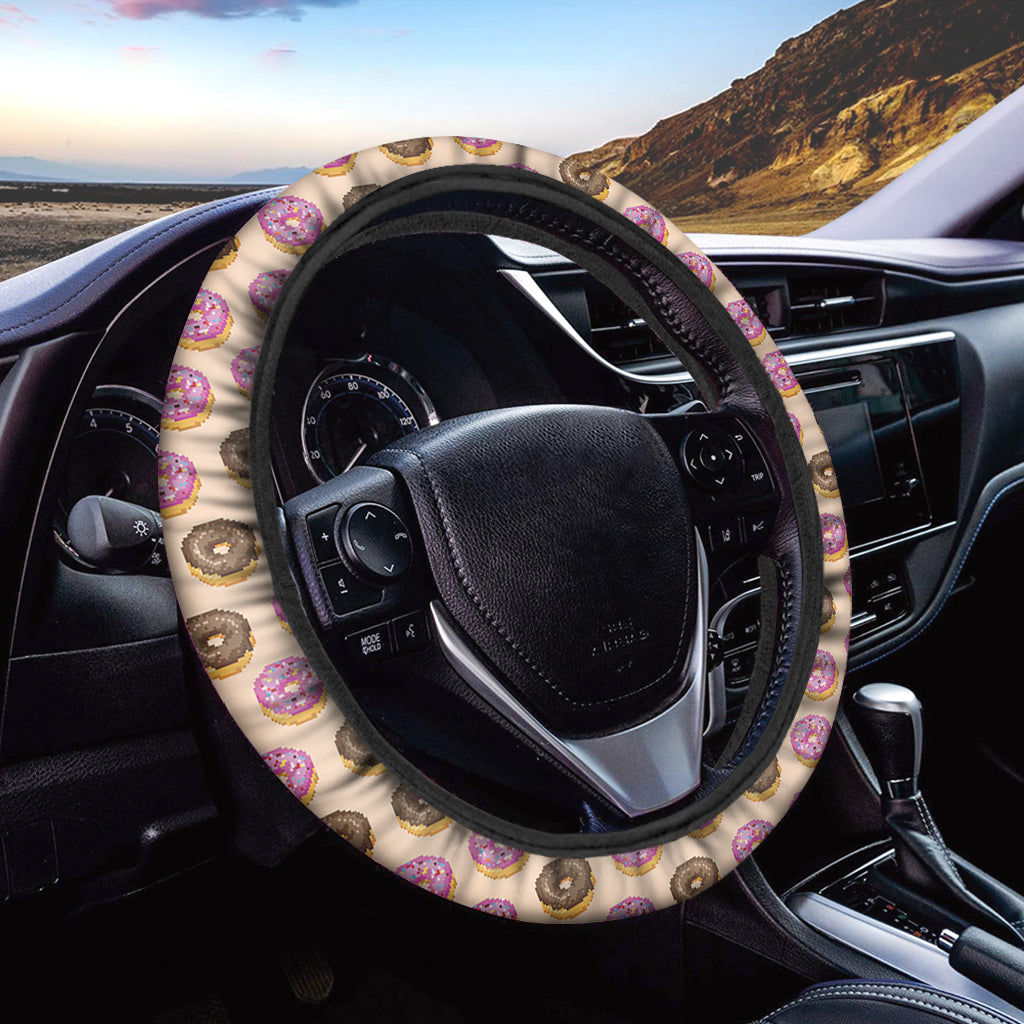 8-Bit Pixel Donut Print Car Steering Wheel Cover