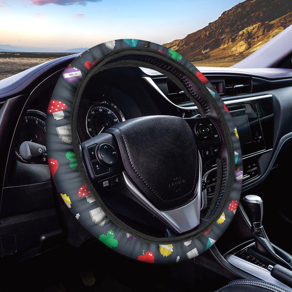 8-Bit Pixel Game Items Print Car Steering Wheel Cover