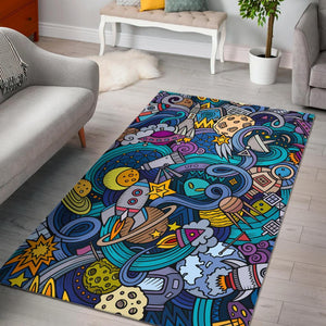 Abstract Cartoon Galaxy Space Print Area Rug GearFrost