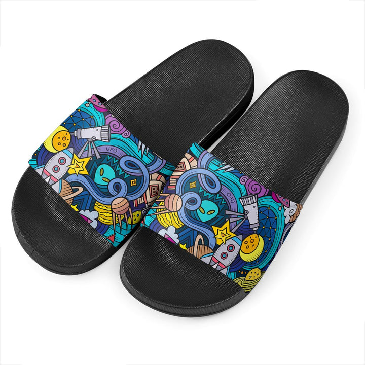 Abstract Cartoon Galaxy Space Print Black Slide Sandals GearFrost