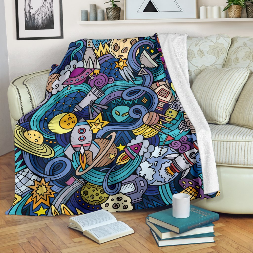 Abstract Cartoon Galaxy Space Print Blanket GearFrost