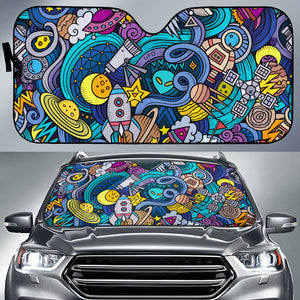 Abstract Cartoon Galaxy Space Print Car Sun Shade GearFrost