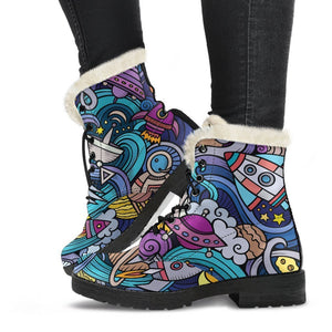 Abstract Cartoon Galaxy Space Print Comfy Boots GearFrost