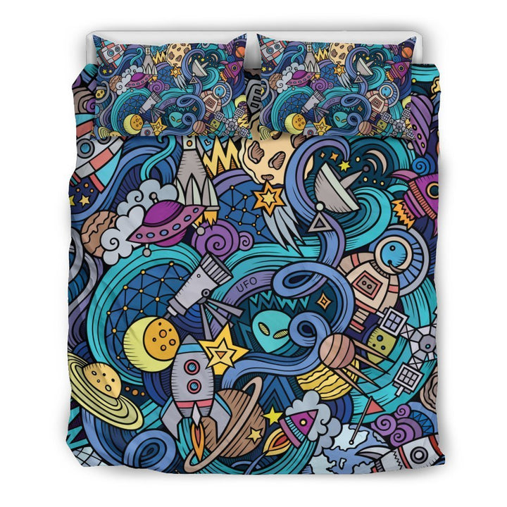 Abstract Cartoon Galaxy Space Print Duvet Cover Bedding Set GearFrost