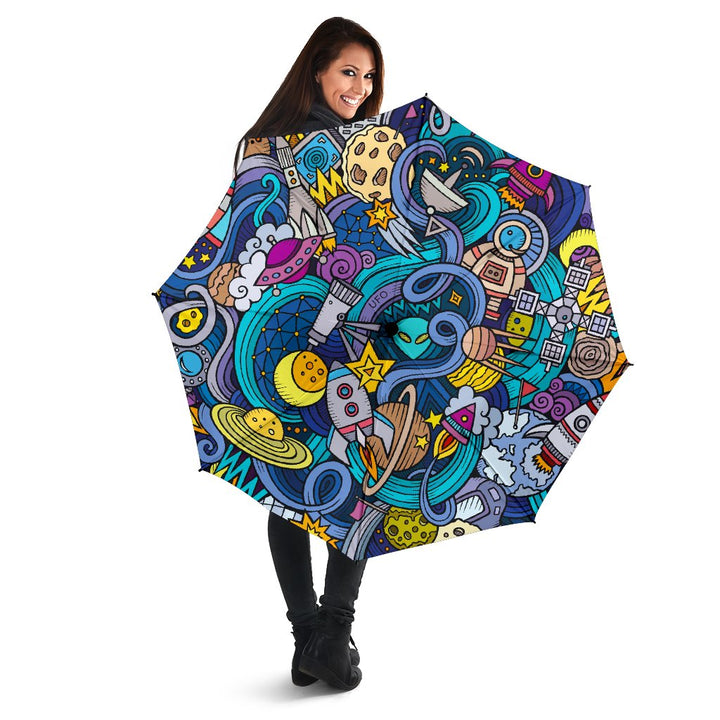 Abstract Cartoon Galaxy Space Print Foldable Umbrella GearFrost