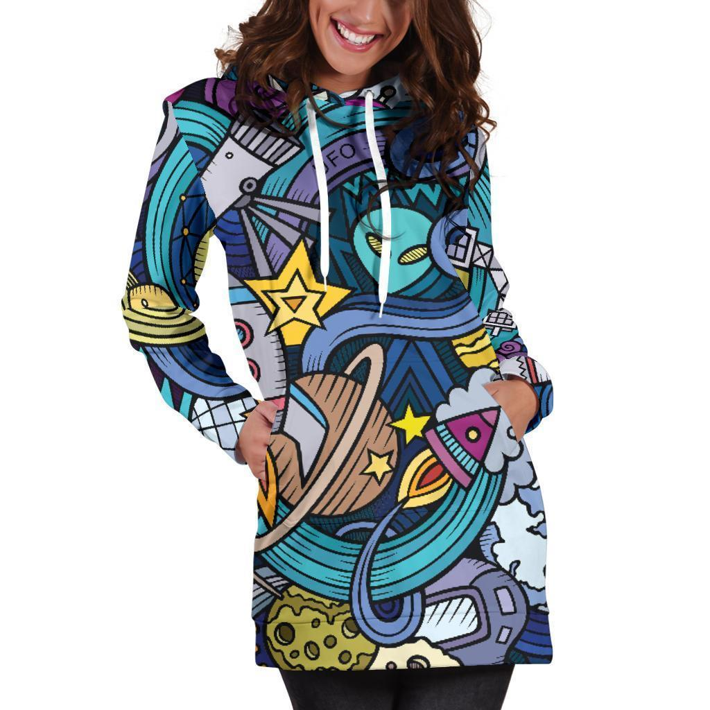 Abstract Cartoon Galaxy Space Print Hoodie Dress GearFrost
