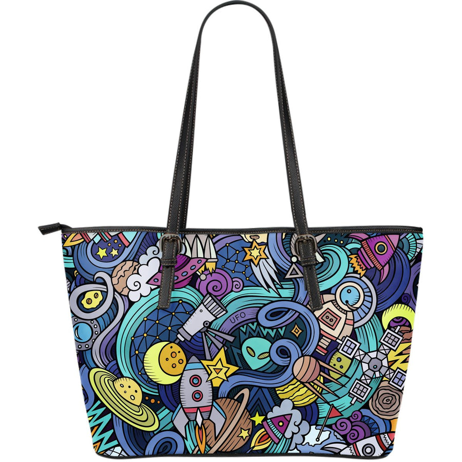 Abstract Cartoon Galaxy Space Print Leather Tote Bag GearFrost