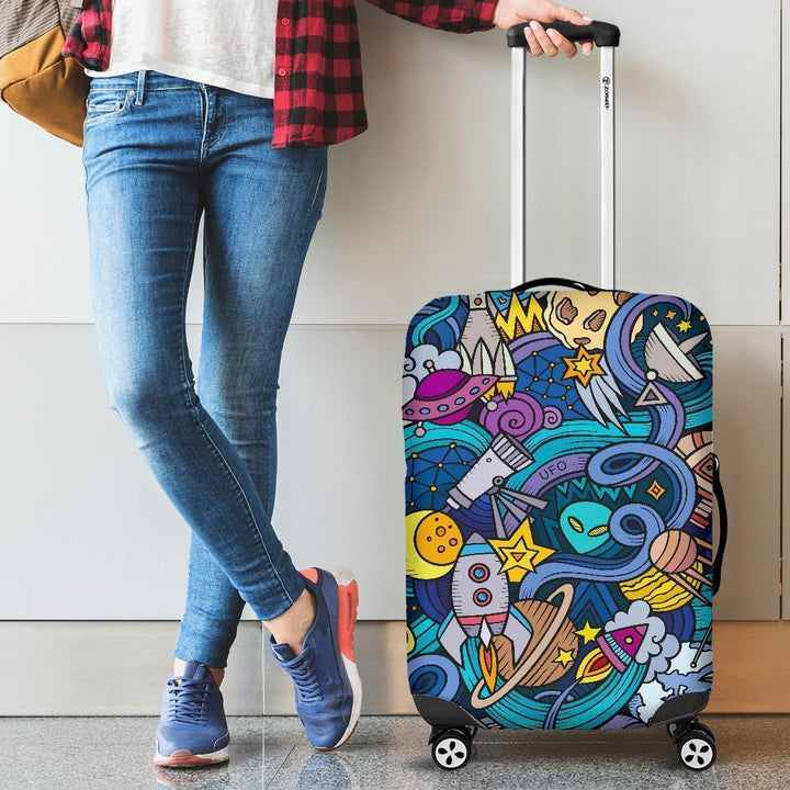 Abstract Cartoon Galaxy Space Print Luggage Cover GearFrost