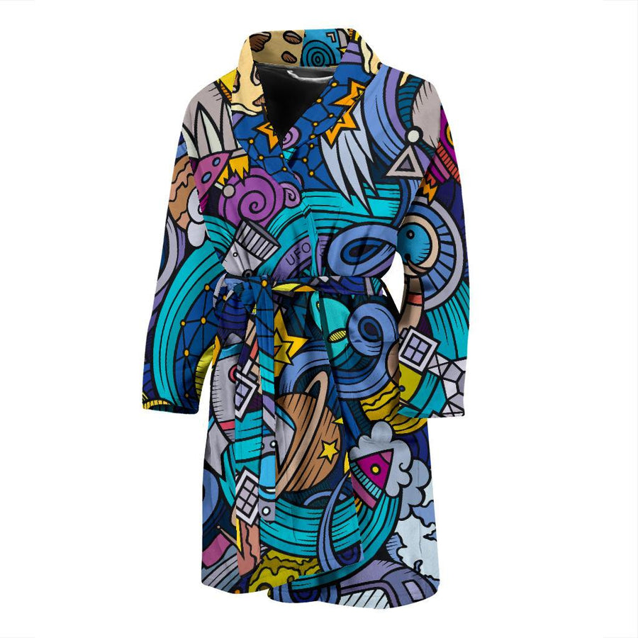 Abstract Cartoon Galaxy Space Print Men's Bathrobe GearFrost