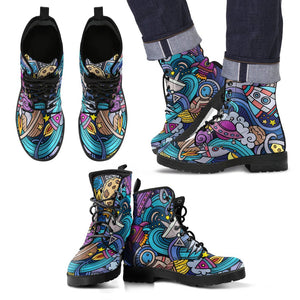 Abstract Cartoon Galaxy Space Print Men's Boots GearFrost