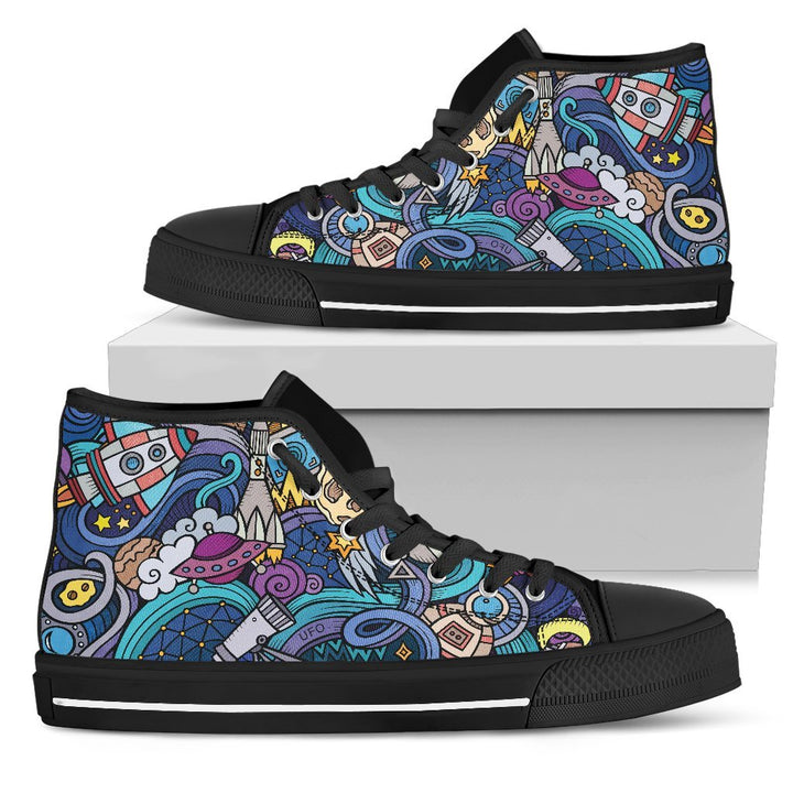 Abstract Cartoon Galaxy Space Print Men's High Top Shoes GearFrost