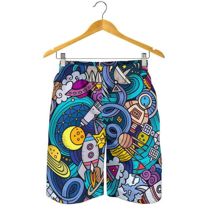 Abstract Cartoon Galaxy Space Print Men's Shorts GearFrost