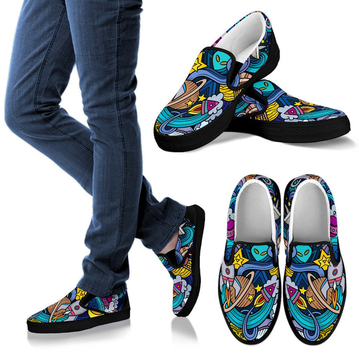 Abstract Cartoon Galaxy Space Print Men's Slip On Shoes GearFrost