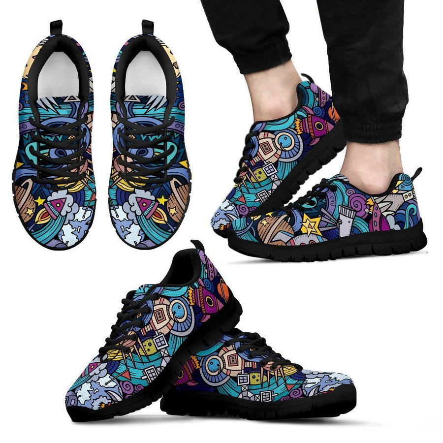 Abstract Cartoon Galaxy Space Print Men's Sneakers GearFrost