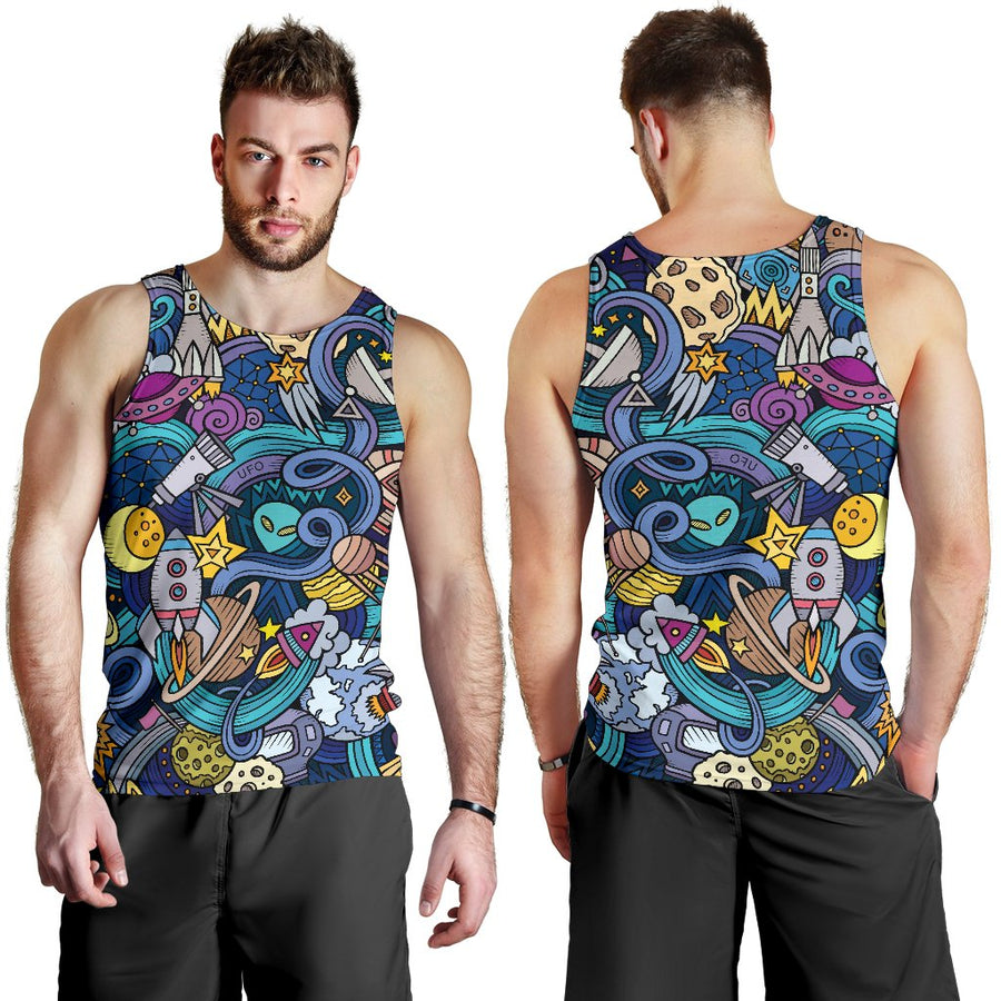 Abstract Cartoon Galaxy Space Print Men's Tank Top GearFrost