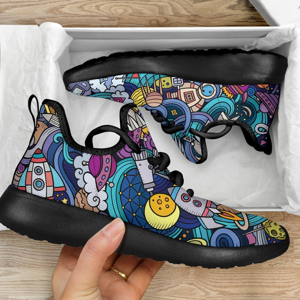 Abstract Cartoon Galaxy Space Print Mesh Knit Shoes GearFrost