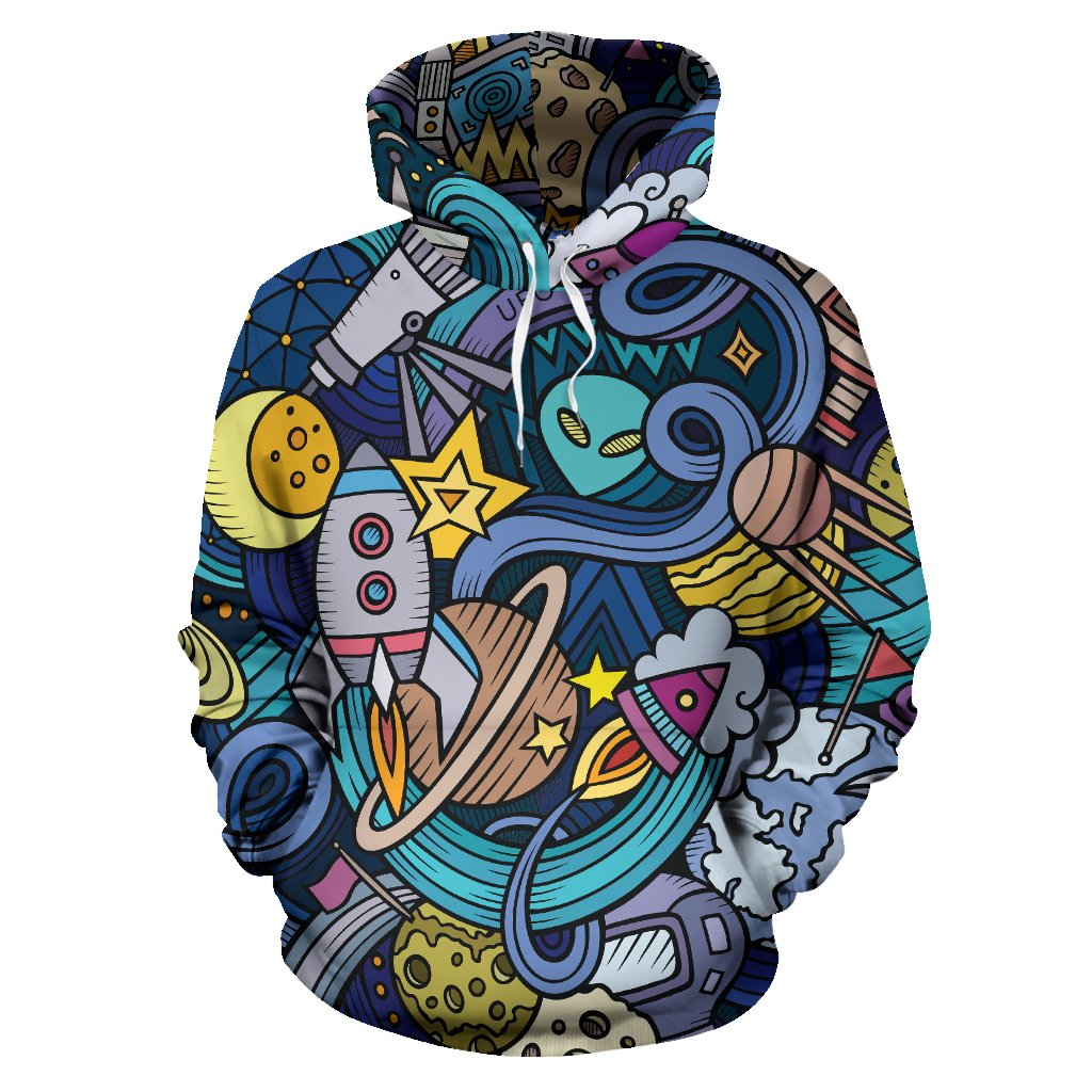 Abstract Cartoon Galaxy Space Print Pullover Hoodie GearFrost