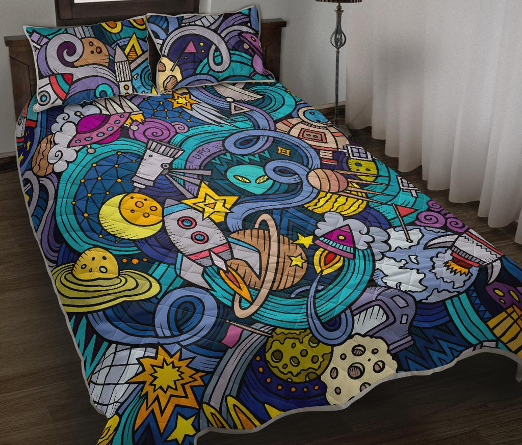 Abstract Cartoon Galaxy Space Print Quilt Bed Set GearFrost
