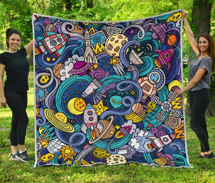Abstract Cartoon Galaxy Space Print Quilt GearFrost