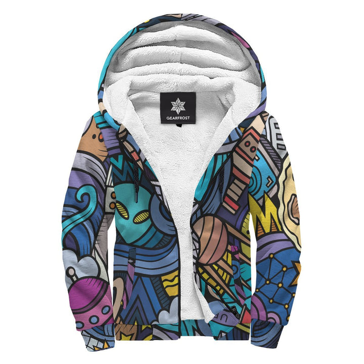 Abstract Cartoon Galaxy Space Print Sherpa Lined Fleece Hoodie GearFrost