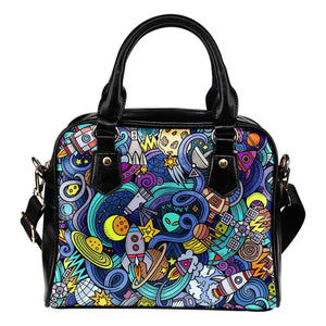 Abstract Cartoon Galaxy Space Print Shoulder Handbag GearFrost