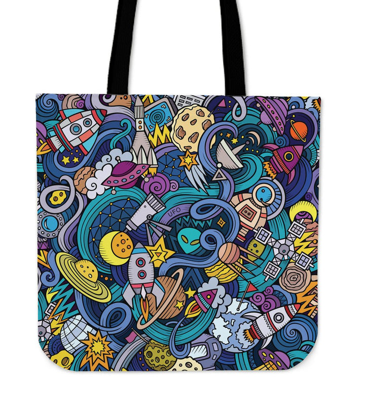 Abstract Cartoon Galaxy Space Print Tote Bag GearFrost