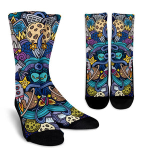 Abstract Cartoon Galaxy Space Print Unisex Crew Socks GearFrost