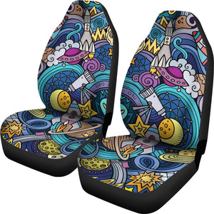 Abstract Cartoon Galaxy Space Print Universal Fit Car Seat Covers GearFrost