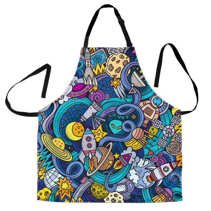 Abstract Cartoon Galaxy Space Print Women's Apron GearFrost