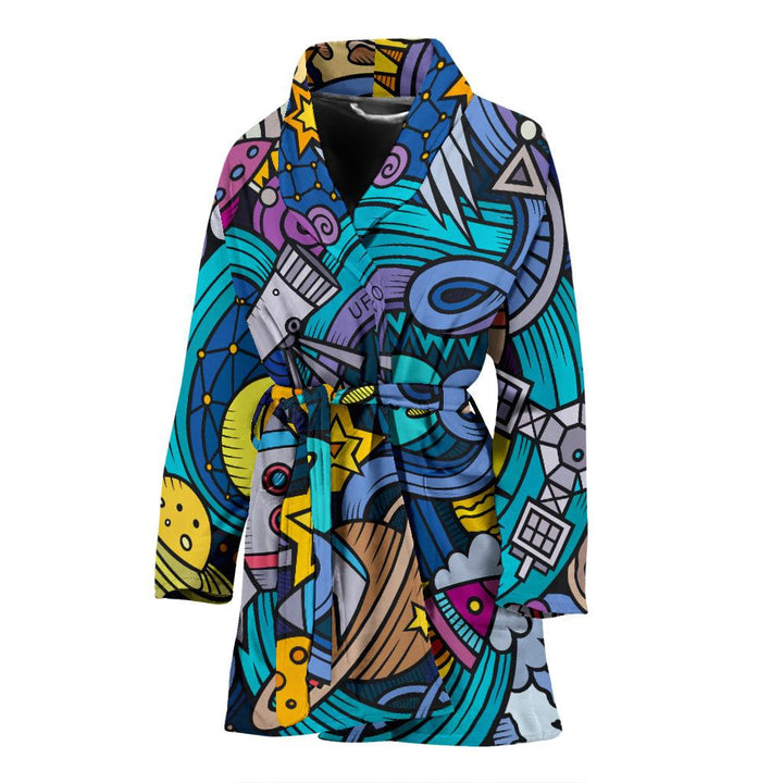 Abstract Cartoon Galaxy Space Print Women's Bathrobe GearFrost