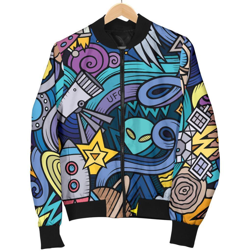 Abstract Cartoon Galaxy Space Print Women's Bomber Jacket GearFrost
