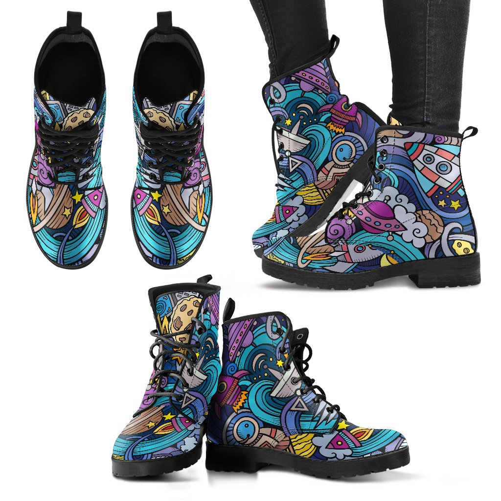 Abstract Cartoon Galaxy Space Print Women's Boots GearFrost
