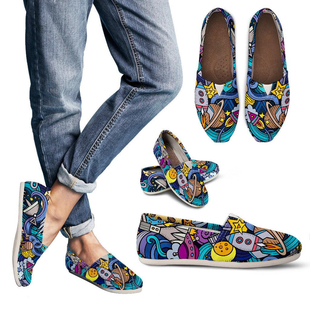 Abstract Cartoon Galaxy Space Print Women's Casual Shoes GearFrost