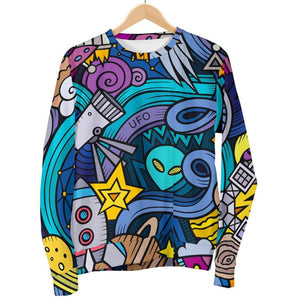 Abstract Cartoon Galaxy Space Print Women's Crewneck Sweatshirt GearFrost