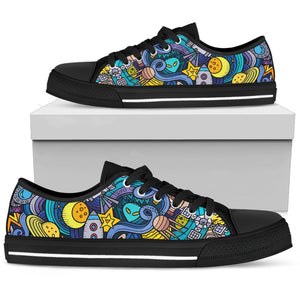 Abstract Cartoon Galaxy Space Print Women's Low Top Shoes GearFrost