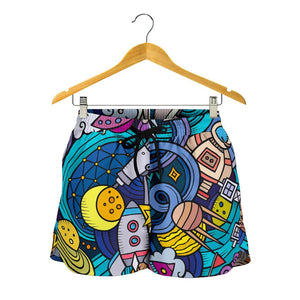 Abstract Cartoon Galaxy Space Print Women's Shorts GearFrost