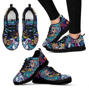 Abstract Cartoon Galaxy Space Print Women's Sneakers GearFrost