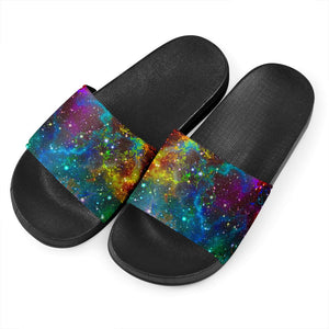 Abstract Colorful Galaxy Space Print Black Slide Sandals GearFrost